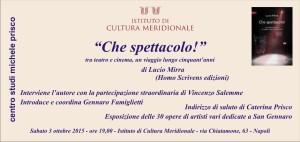presentazione del libro «Che spettacolo! Tra teatro e cinema, un viaggio lungo cinquant'anni» di Lucio Mirra